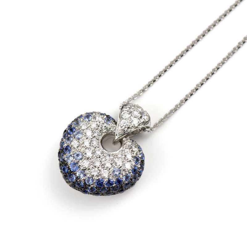 Leo Pizzo 18k White Gold Sapphire and Diamond Pendant